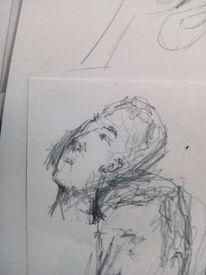 Bleistiftzeichnung, Figur, Menschen, Skizze