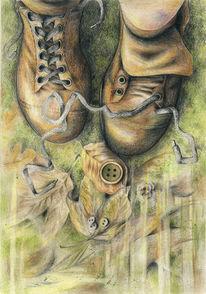 Buntstiftzeichnung, Polychromos, Schuhe, Natur