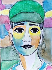 Aquarellmalerei, Frau, Grüne kappe, Aquarell