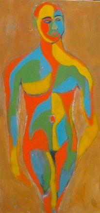 Malerei modern, Grün, Blau, Gelb orange