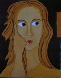 Violett, Mädchen, Temperamalerei, Frau