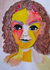 Portrait, Ausdruck, Frau, Aquarell