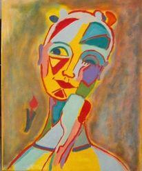 Bunt, Portrait, Temperamalerei, Mädchen
