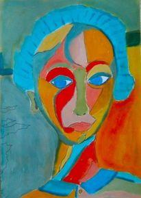 Orange, Bunt, Mädchen, Temperamalerei