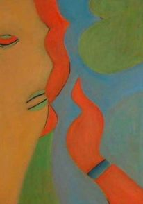Portrait, Hand, Geheimnis, Malerei