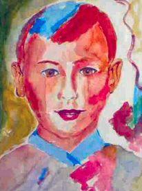 Junge, Aquarellmalerei, Portrait, Bunt