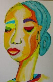 Bunt, Aquarellmalerei, Grün, Portrait