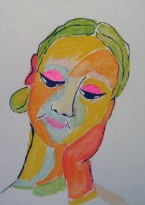 Aquarellmalerei, Frau, Orange, Portrait