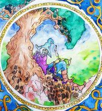 Zauberer, Baum, Fantasie, Aquarell