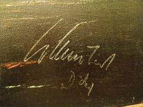 Signatur, Malerei, Rot, Segelboot