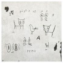 Skizze, Frieden, Tiere, Menschen