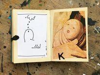 Portrait, Buchkunst, Mischtechnik,