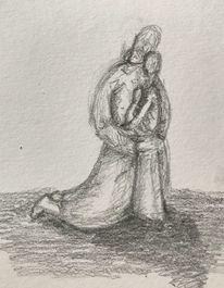 Geborgenheit, Bleistiftzeichnung, Umarmung, Liebe