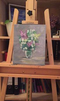 Blumenstrauß, Bunt, Blumen, Ölmalerei