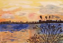 Sonnenuntergang, Orange, Skyline, Weiß