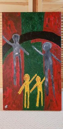 Acrylmalerei, Malerei modern, Malerei, Familie