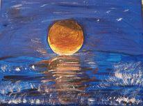 Sonnenuntergang, Meer, Abend, Malerei