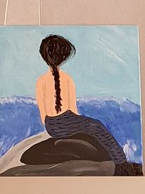 Frau, Acrylmalerei, Malerei, Naive malerei