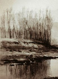 Skizze, Monochrom, Wald, Wasser