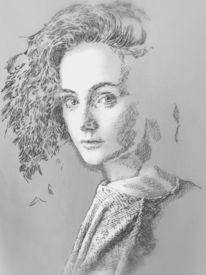 Frau, Studie, Portrait, Monochromm