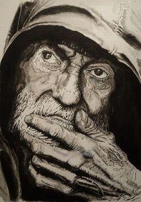 Hand, Portrait, Mann, Monochrom