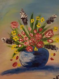 Abstrakt, Acrylmalerei, Frühlingsblumen, Malerei