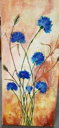 Blumen, Kornblumen, Acrylmalerei, Malerei