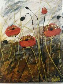 Acrylmalerei, Abstrakt, Mohnblumen, Malerei