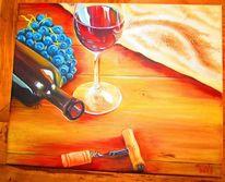 Kork, Wein, Glas, Trauben