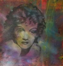 Marlene dietrich, Malerei, Zeitgenössisch, Portrait