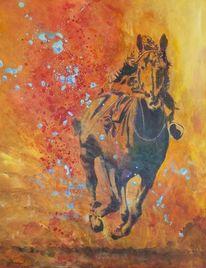 Pferderennen, Acrylmalerei, Pferde, Malerei