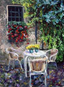 Gewitter, Frühling, Café, Malerei