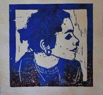 Mädchen, Blau, Profil, Rot