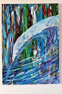 Farben, Welle, Blau, Malerei