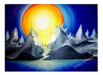 Malerei, Pastellmalerei, Landschaft, Blau