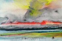 Aquarellmalerei, Brandung, Fehmarn, Sturm