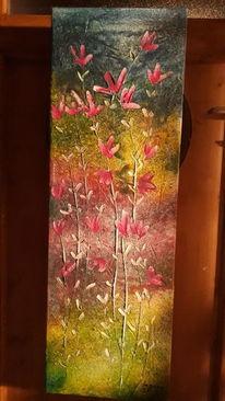 Blumen, Abstrakt, Farben, Mischtechnik