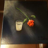 Blumen, Weiß, Schwarz, Malerei