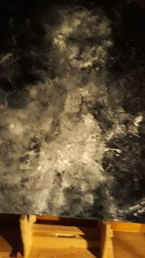 Abstrakt, Weiß, Schwarz, Malerei