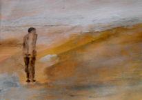 Allein, Gelb, Einsamkeit, Malerei