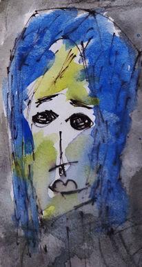 Frau, Gesicht, Blau, Malerei