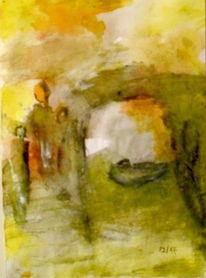 Krippe, Weihnachten, Gelb, Malerei