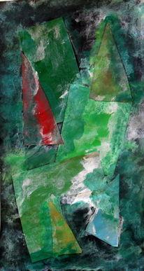 Kubismus, Grün, Abstrakt, Malerei