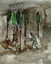 Baum, Landschaft, Wald, Malerei