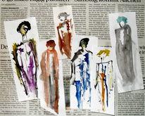 Mode, Collage, Zeitung, Mischtechnik