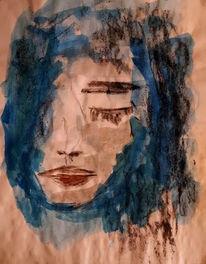 Gesicht, Blau, Grau, Malerei
