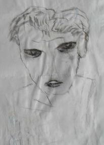 Schwarz weiß, Gesicht, Portrait, Malerei
