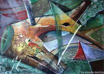 Malerei modern, Rot, Acrylmalerei, Blau