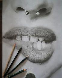 Piercing, Schwarzweiß, Lippen, Nase