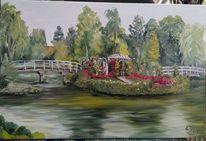 Rosarium, Baum, Brücke, Teich